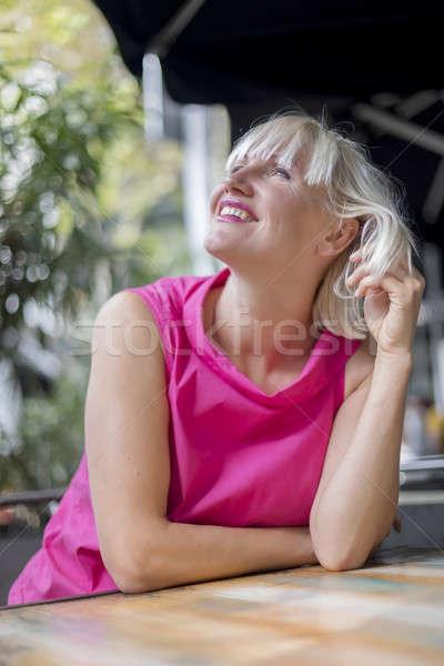 Portre güzel kafkas kadın açık kafe Stok fotoğraf © 2Design