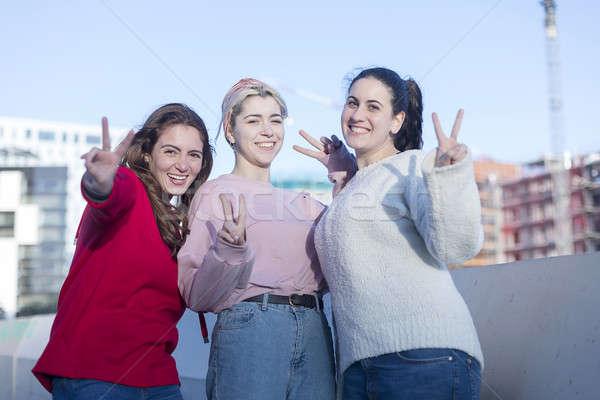 Encantador amigável mulheres jovens grupo ao ar livre Foto stock © 2Design