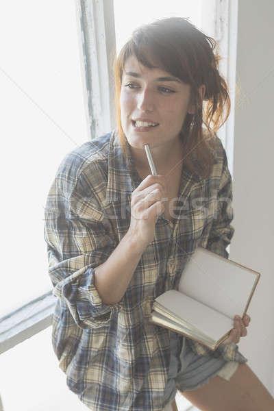 Сток-фото: утра · сцена · молодые · женщину · право