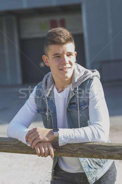 Portret knap buitenshuis gelukkig student Stockfoto © 2Design
