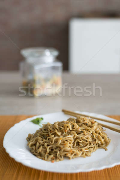 Rundvlees plaat bamboe tabel groene Stockfoto © 2Design