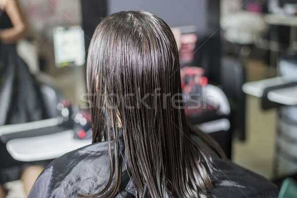 A Hairdresser in action cutting long hair Stock photo © 2Design