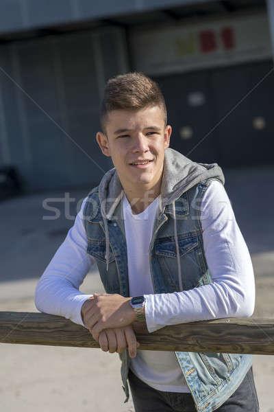Portret knap buitenshuis man achtergrond Stockfoto © 2Design