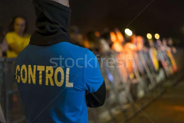 безопасности офицер вентиляторы забор концерта мужчин Сток-фото © 2Design