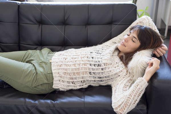 Portre genç kadın uyku kanepe kadın ev Stok fotoğraf © 2Design