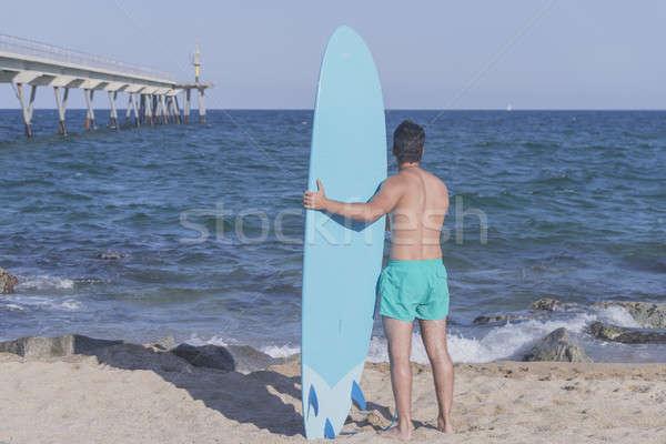 Surfer синий доска для серфинга за пляж Сток-фото © 2Design