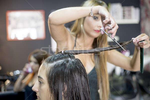 Peluquero acción pelo largo cliente fotografía Foto stock © 2Design