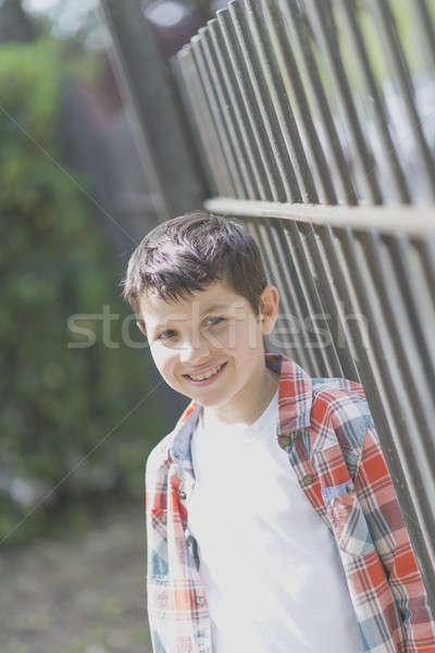Stockfoto: Portret · toevallig · teen · jongen · buitenshuis · gezicht