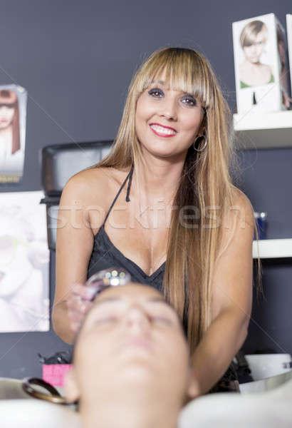 Сток-фото: стиральные · парикмахерская · женщины · клиентов · счастье