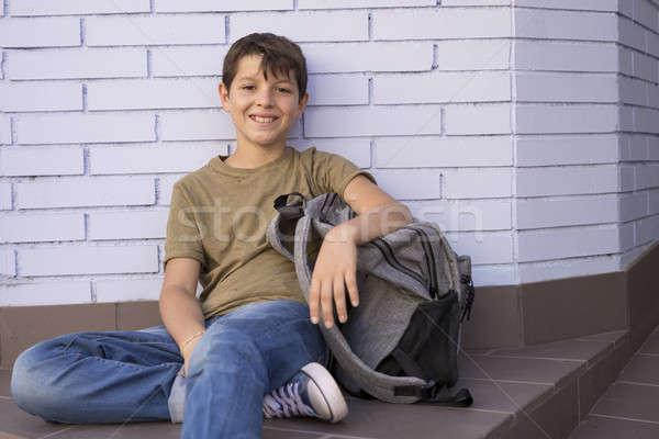 çocuk sırt çantası okula geri gülümseme Stok fotoğraf © 2Design