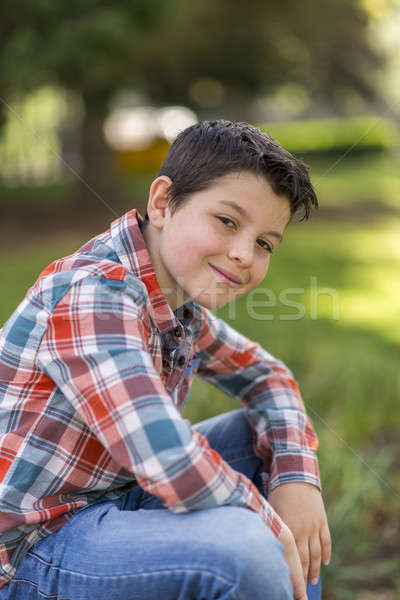 Portret toevallig teen jongen buitenshuis gezicht Stockfoto © 2Design