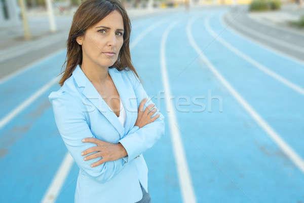 Portre iş kadını mavi ceket Stok fotoğraf © 2Design