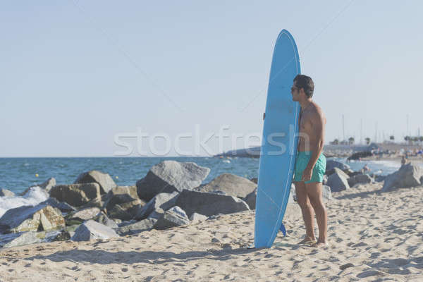 Surfista azul tabla de surf playa cielo Foto stock © 2Design