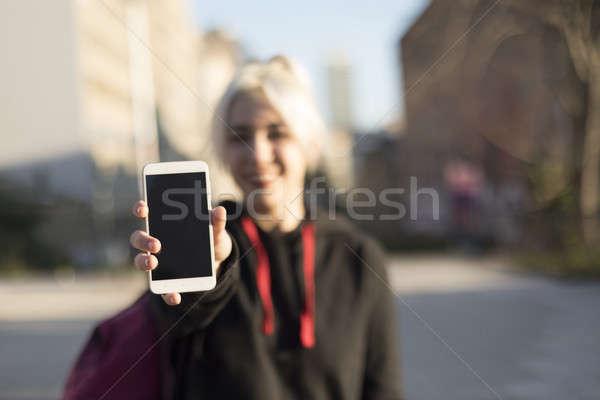 Görmek mutlu kız göstermek Stok fotoğraf © 2Design