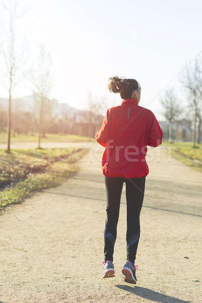 Actief vrouw runner najaar natuur Stockfoto © 2Design