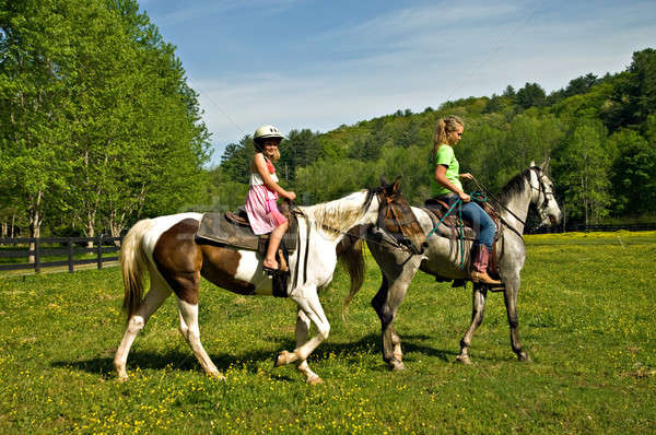 Girls Riding Horses Stock photo © 2tun