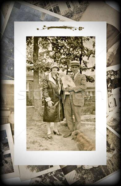 Vintage foto familie baby origineel foto Stockfoto © 2tun
