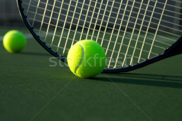 Tennis Ball and Racket Close Up Stock photo © 33ft