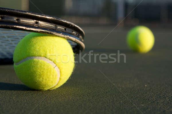 テニスボール ラケット ルーム コピー スポーツ テニス ストックフォト © 33ft