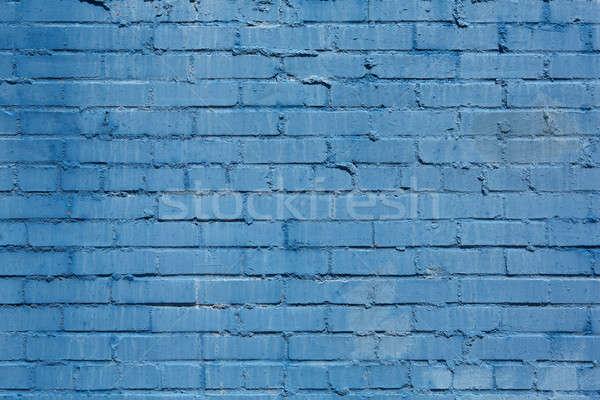 古い レンガの壁 描いた 青 外に ストックフォト © 33ft