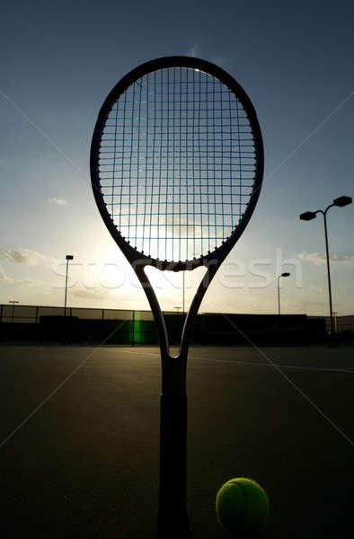 テニス 日没 テニスボール ラケット スポーツ ボール ストックフォト © 33ft