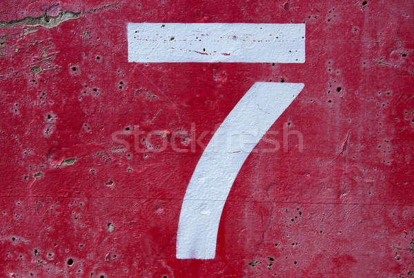 番号 7 描いた セメント ストックフォト © 33ft
