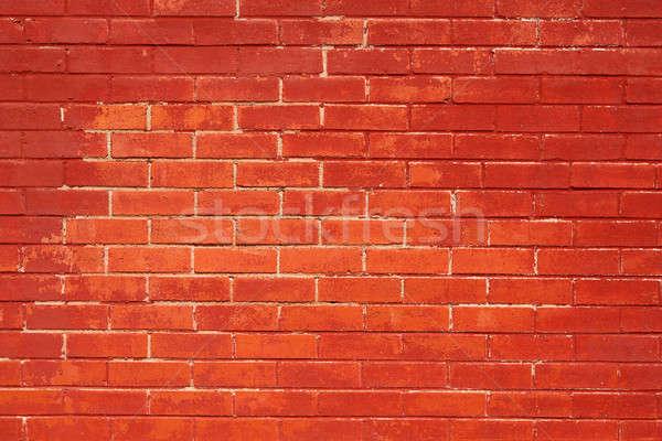 レンガの壁 描いた 赤 外に レンガ ストックフォト © 33ft