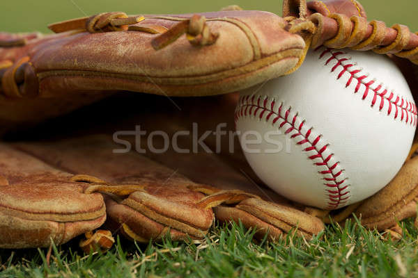 New Baseball in a Glove Stock photo © 33ft