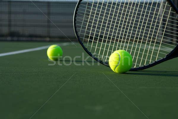 Balle de tennis raquette chambre copier sport tennis Photo stock © 33ft