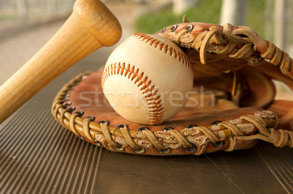 Baseball Bat and Glove in the Dugout Stock photo © 33ft