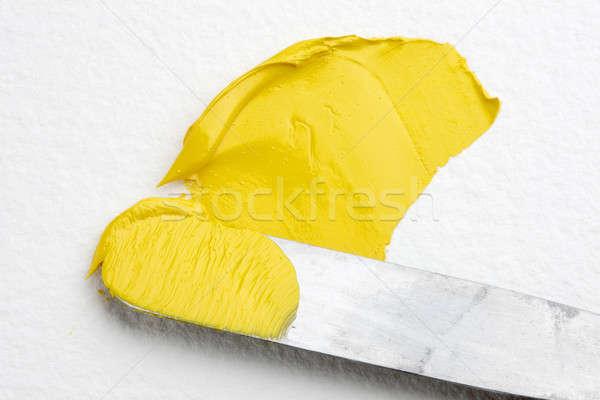 палитра ножом выстрел желтый краской Сток-фото © 350jb