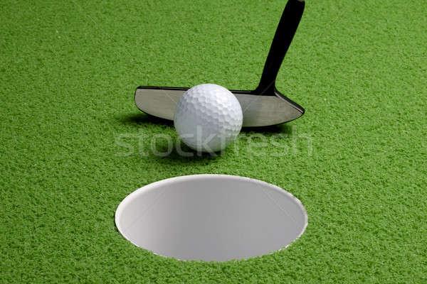 Foto stock: Tiro · golfball · verde · grama · golfe