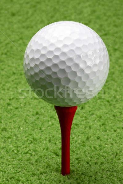 Pallina da golf rosso macro shot campo da golf erba Foto d'archivio © 350jb