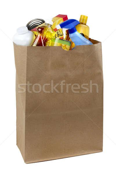 сумку бутылок коробки выстрел грубая оберточная бумага Сток-фото © 350jb