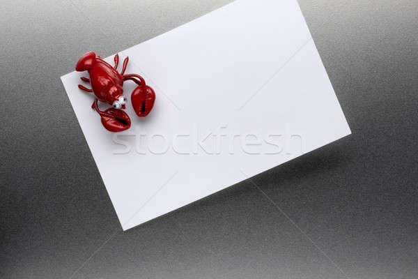 омаров холодильнике магнит кусок бумаги нержавеющая сталь Сток-фото © 350jb