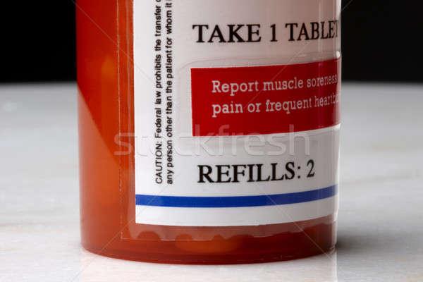 Foto stock: Droga · prescrição · macro · tiro · garrafa · etiqueta