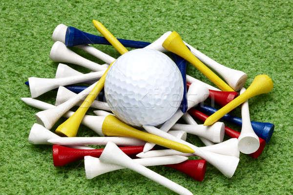 Golf ball and colorful tees Stock photo © 350jb