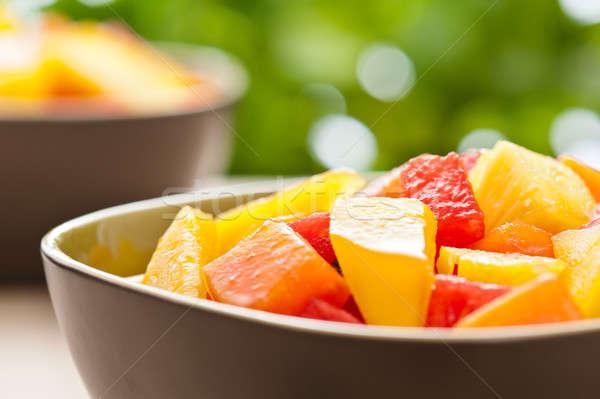Two bowl of Mixed tropical fruit salad Stock photo © 3523studio