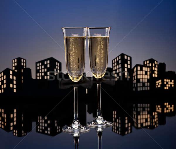 Metropolia szampana koktajl gej mężczyzn okulary Zdjęcia stock © 3523studio