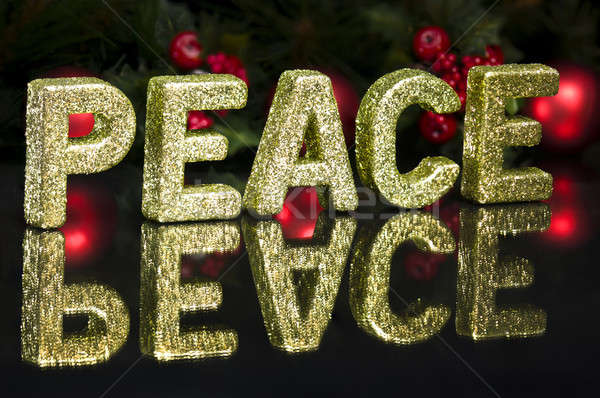 Hoofdletter geschreven vrede schitteren effect zwarte Stockfoto © 3523studio