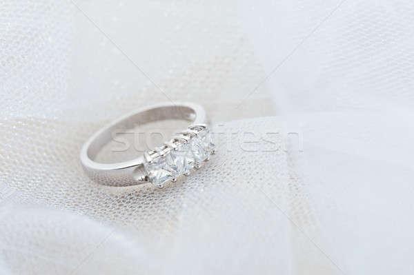 Engagement ring on white veil Stock photo © 3523studio