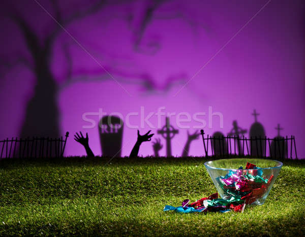 Zombie handen kerkhof ontwerp groene zwarte Stockfoto © 3523studio