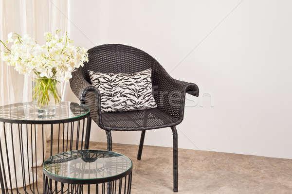 Stockfoto: Bruin · stoel · interieur · witte · muur · huis