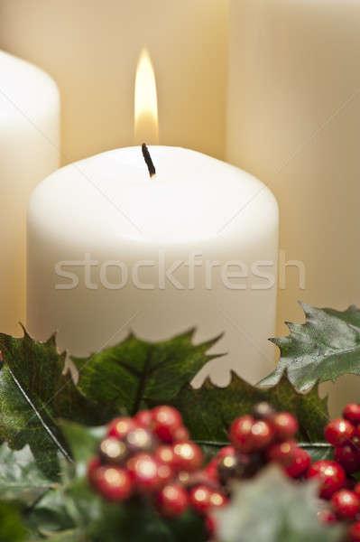 приход венок сжигание свечей Рождества время Сток-фото © 3523studio