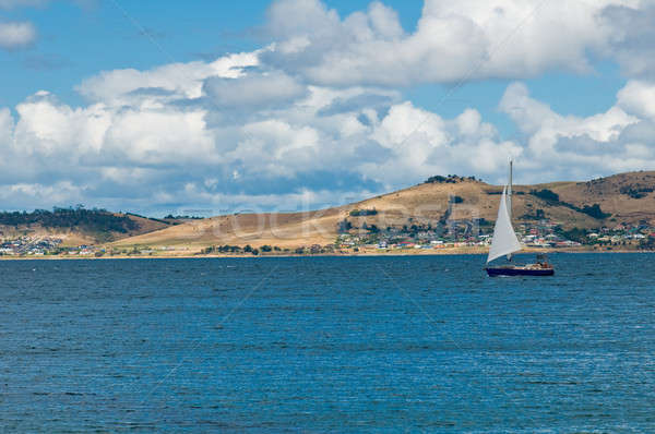 Luxury yacht sails in blue waters along a summer coast line Stock photo © 3523studio