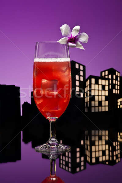 Metropolis Singapore Sling cocktail in city skyline setting Stock photo © 3523studio