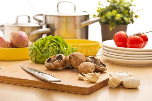 Cocina naturaleza muerta preparación cocina brillante madera Foto stock © 3523studio