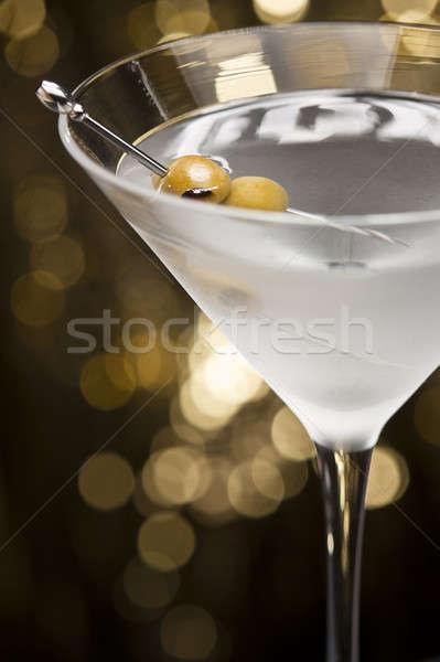 водка-мартини оливкового гарнир золото блеск продовольствие Сток-фото © 3523studio