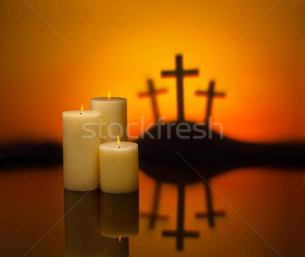 Three crosses candles of hope Stock photo © 3523studio