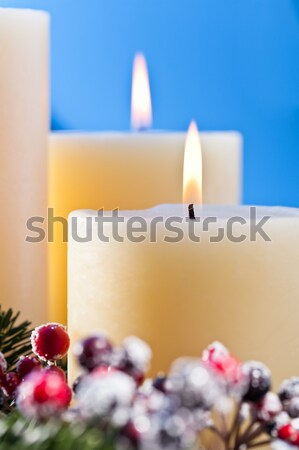 Three candles with golden stars Stock photo © 3523studio
